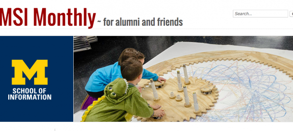 Header for UMSI Monthly newsletter showing children on floor with Spirograph