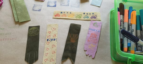 Photo of leather/suede bookmarks at the MML table of Benzonia Public Library's Holiday Fair