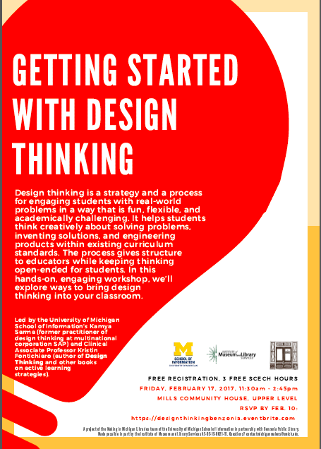 Flyer for Getting Started with Design Thinking. You can view the details in a machine-readable version at https://www.eventbrite.com/edit?eid=30226120139