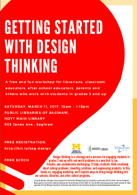 Flyer for Design Thinking Workshop in Saginaw on March 11