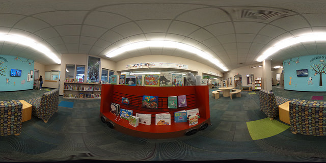 Panoramic photo of children's area of Niles District Library