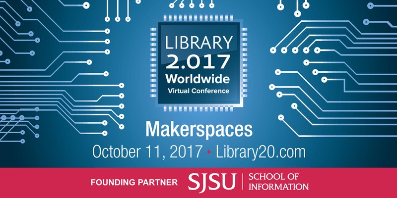 Decorative - logo for Library 2.017 conference on makerspaces